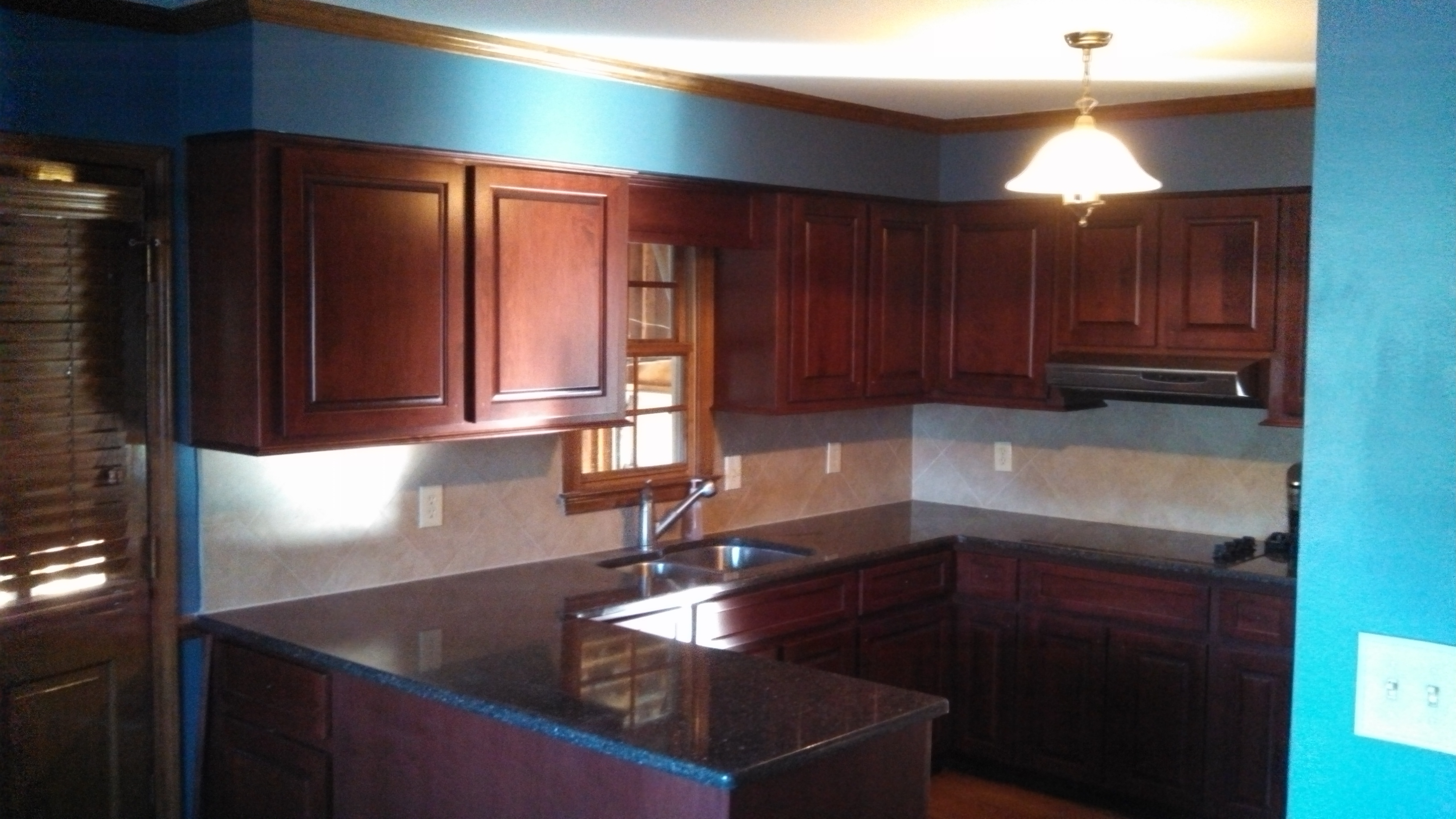 red kitchen cabinets turquoise blue walls boston cabinet cures