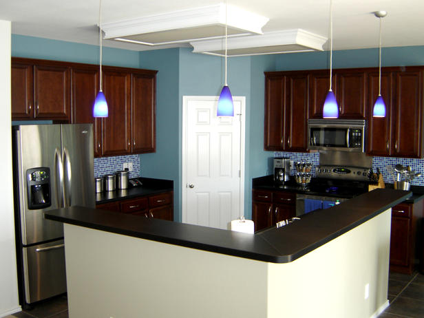 blue wall kitchen red cabinets boston cabinet cures