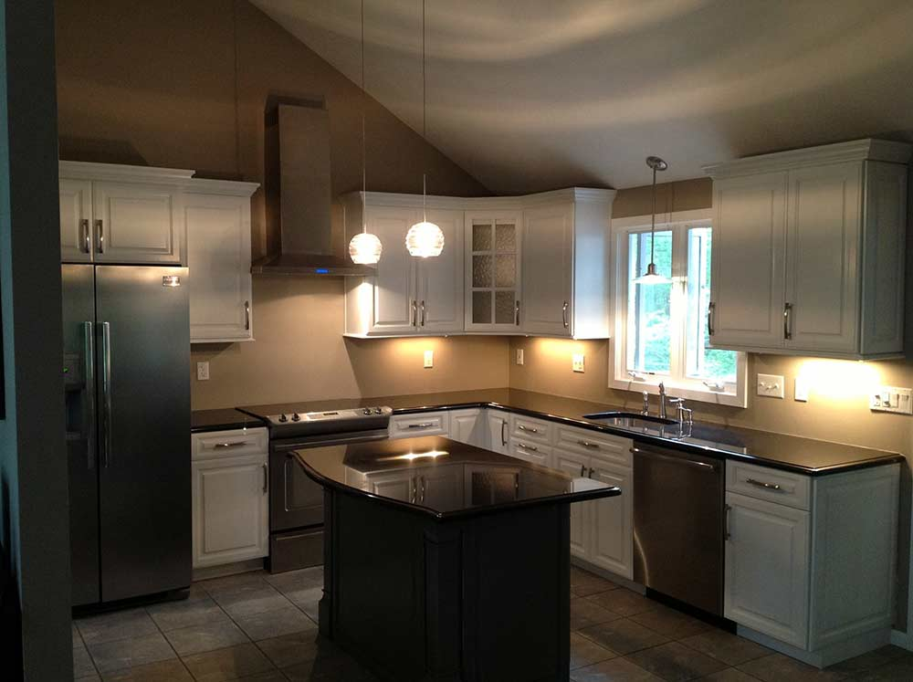 white kitchen cabinets black granite counters boston cabinet cures