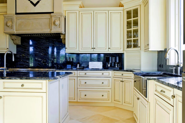 stone stove corbels yellow kitchen cabinets black granite ...