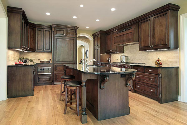 brown wood corbels kitchen island dark wood kitchen cabinets boston cabinet cures