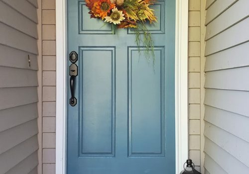 fall decor painted front door